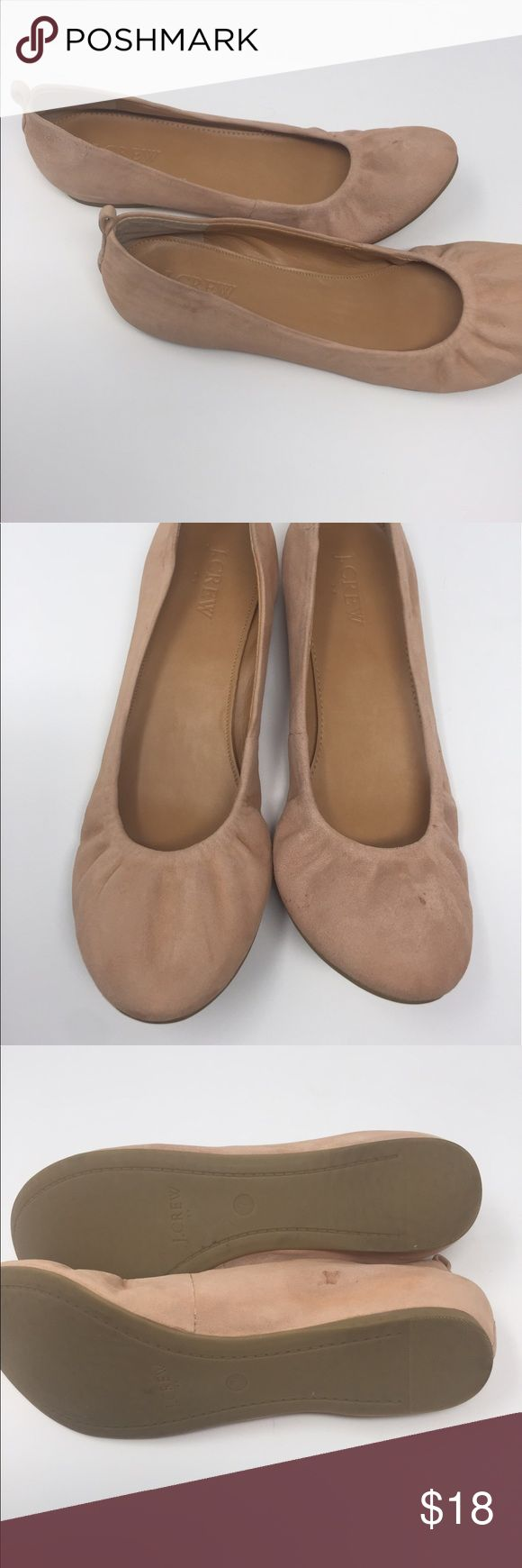 J Crew Flats Blush pink suede flats in size 7. It has 2 spots on the shoes, that I cannot get off. One small spot on the top and another on the side. Adorable shoes, that are comfortable and cute for any occasion. J. Crew Shoes Flats & Loafers