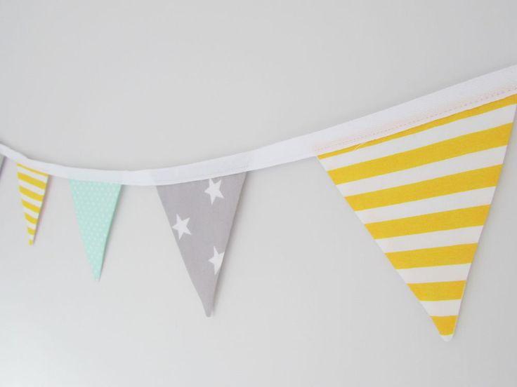 Handmade Mini Fabric Bunting, mint, yellow and grey, baby shower, nursery, gift    eBay