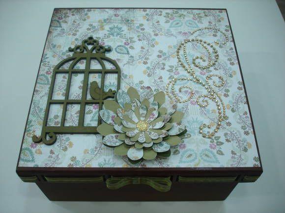 caixa de scrap decor com gaiolinha e decorada com strass R$ 65,00