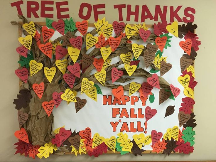 Getting another month out of an already existing bulletin board at the nursing home. I asked every one of my residents what they were thankful for and made a Tree of Thanks!