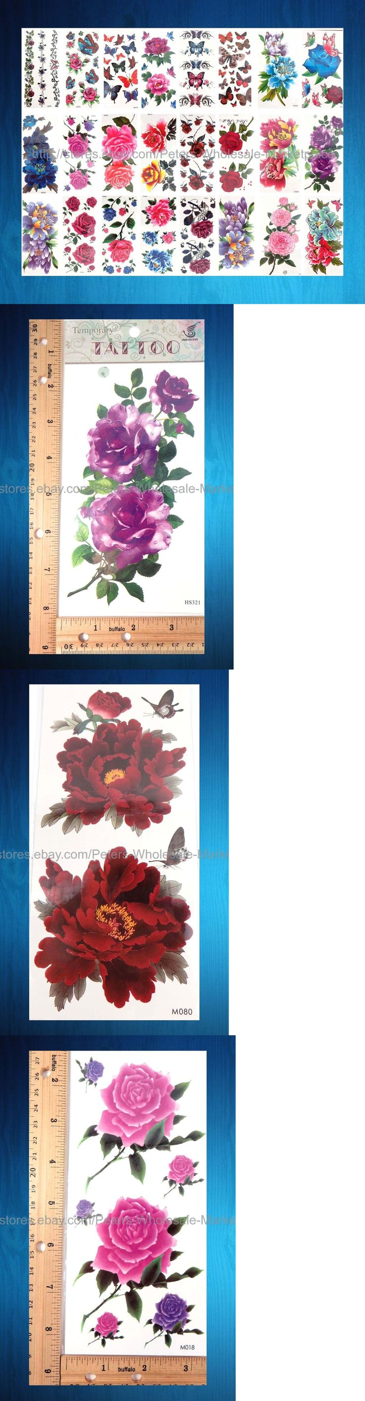 Temporary Tattoos: 100 Sheets Large Flower Rose Peony Temporary Tattoo Tribal Temporary Tattoos BUY IT NOW ONLY: $59.75