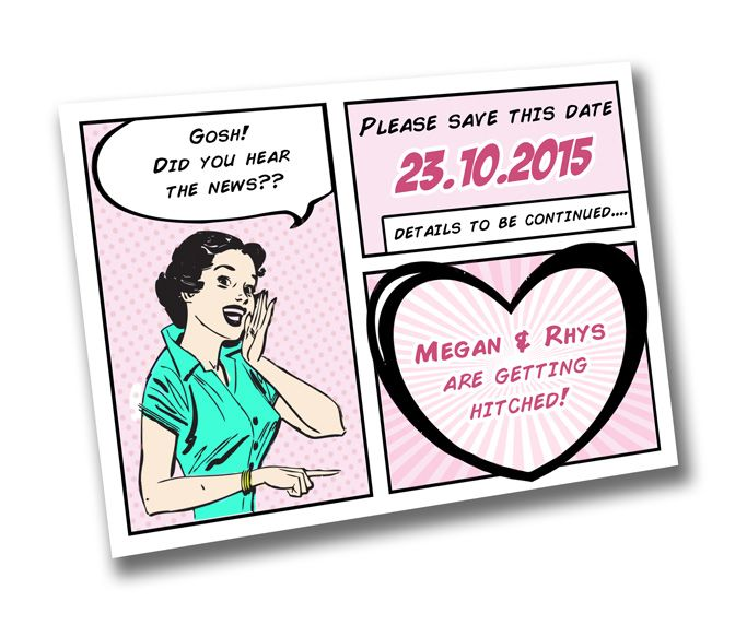 Retro Comic Book Pop Art Save The Date Quirky Eden Craft Project Stationery Wedding