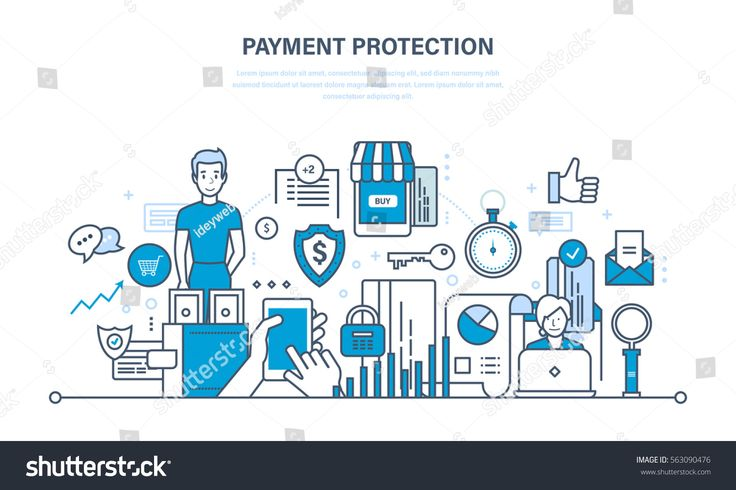 Secure transactions and payments protection, the guarantee security of financial deposits, transactions and savings deposits. Illustration thin line design of vector doodles, infographics elements.