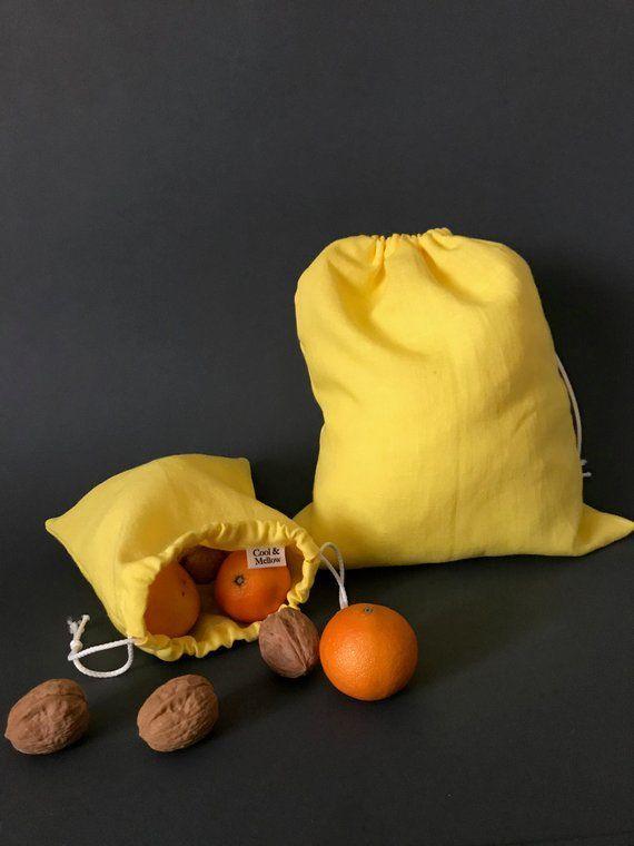fresh bread bag organic cotton vegan food bags for fruit and vegetables nuts beans reusable produce bags Zero dechet linen drawstring bag