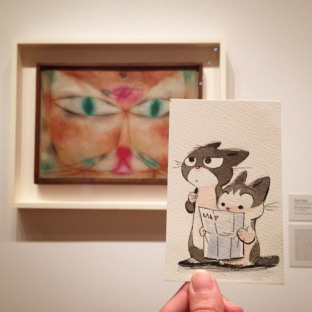 Penelope and Gizmo trying to understand modern art at MoMA.  (at MoMA The Museum of Modern Art)