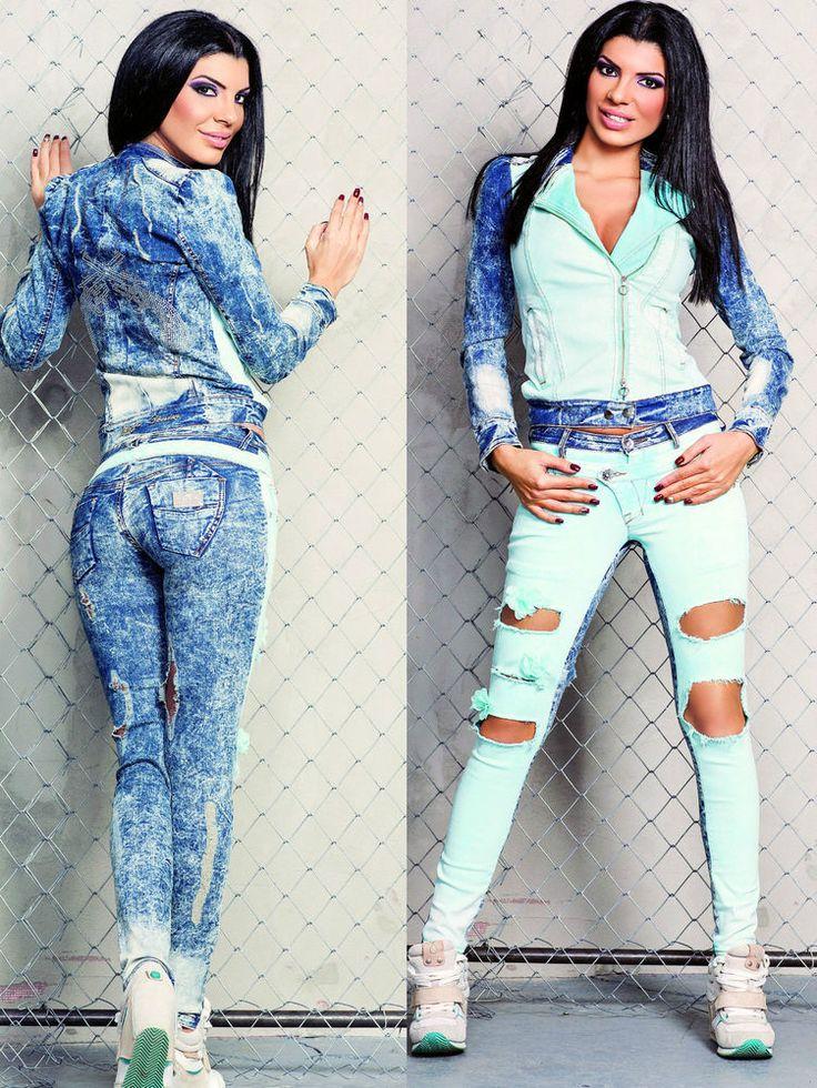 Foggi Jeans 2-Teiler Jeansjacke Jeanshose Fetzenjeans Jeans Set Strass XXS XS S