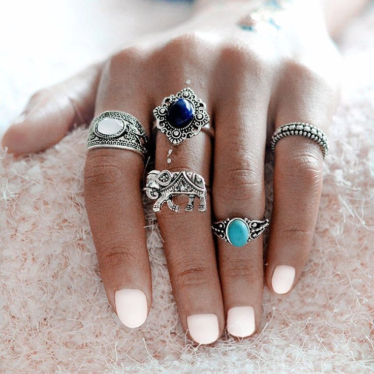 Bohemian Style Rings Elephant Blue Stone Silver Color knuckle Midi Ring Set BOHO Beach Jewelry