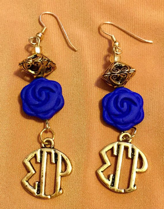 R.I.O.T Sigma Gamma Rho Sorority blue rose dangle earrings