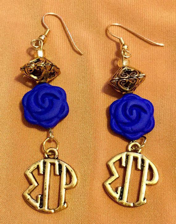 R.I.O.T Sigma Gamma Rho Sorority blue rose dangle earrings