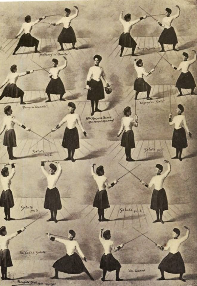 The salute and main movements of Women's Fencing. 1923.