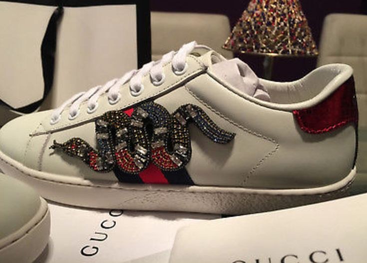 FOR SALE: New Gucci Ace Crystal Snake sneakers 37.5 EU, 5 UK, 7.5US Ivory color