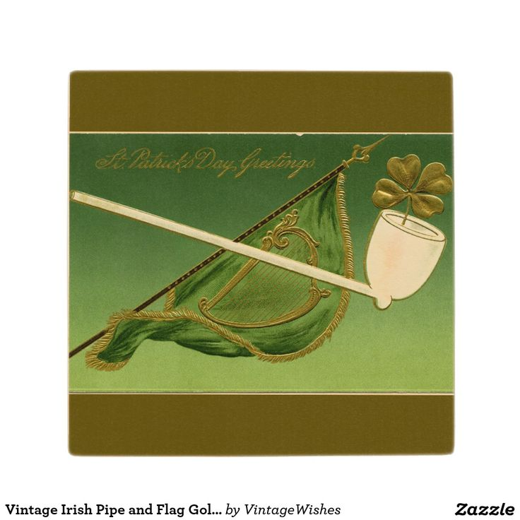 Vintage Irish Pipe and Flag Gold Wood Coaster - #vintagewishes #windywinters #zazzle