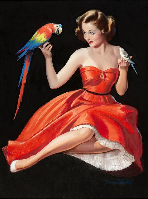Polly wanna pinup? :) #vintage #pinup #art #birds #parrot