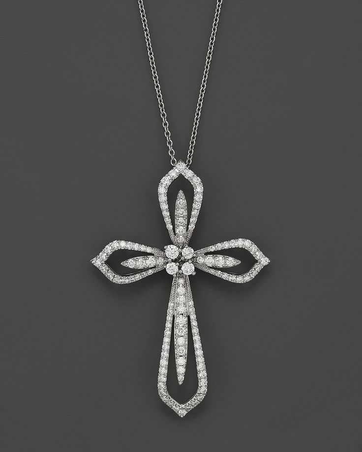 Gold Cross Necklace   Diamond Cross Pendant Necklace in 14K White Gold, 1.20 ct. t.w., 17 ...