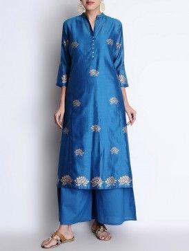 Blue-Golden Mandarin Collar Kamal Khari Block Printed Chanderi Kurta with Lining & Palazzos Set of 3
