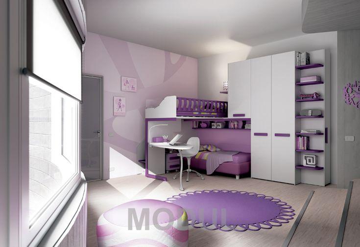 Спальня в фиолетовых тонах для двух девочек Moretti Compact KS14