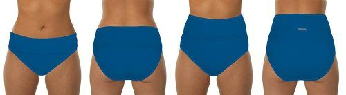 Swim Systems Women's Blue Topaz Banded High Waist Bikini Bottom Topaz L
