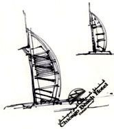Felt pen sketch of the Burj al Arab drawn by Wright on paper serviette while he sat on the terrace of the Chicago Beach hotel, adjacent to the site of the Burj al Arab