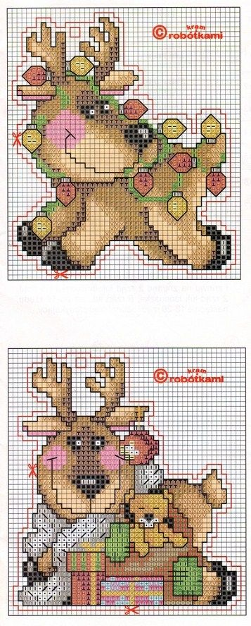 Reindeer Ornaments - Plastic Canvas (See other Reindeer pinned on this board for colour chart)