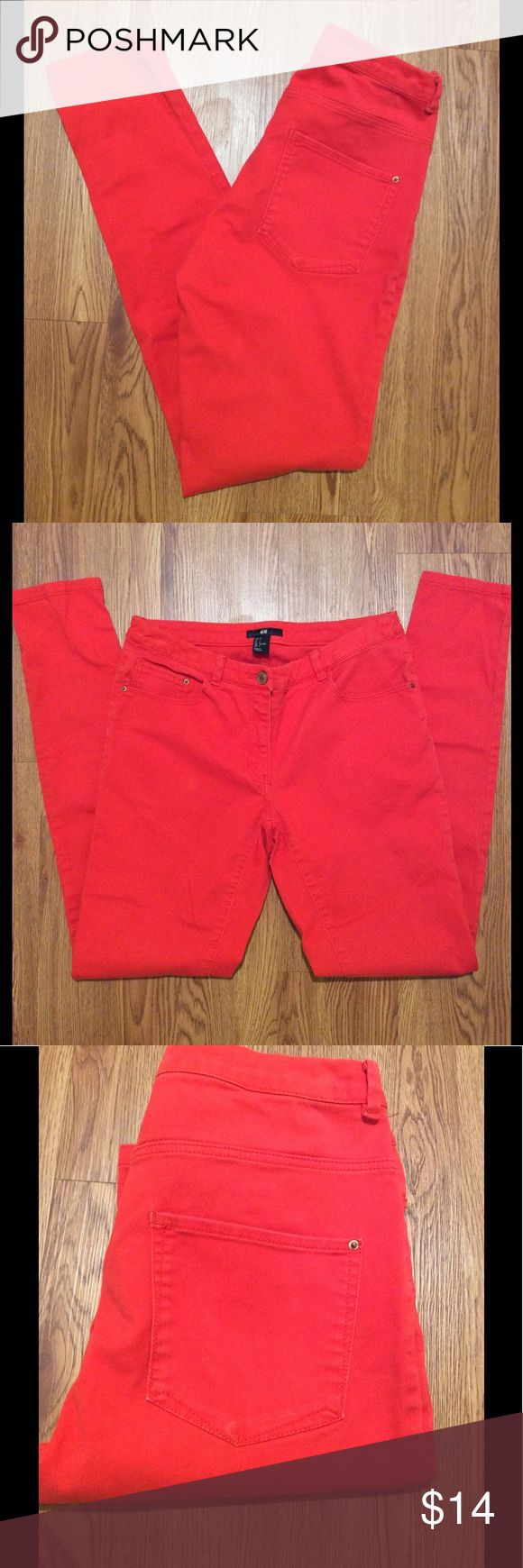 Tomato Red H&M Skinny Jeans H&M, size 6, good stretch, used but in good condition, yellow jeans in closet too H&M Jeans Skinny