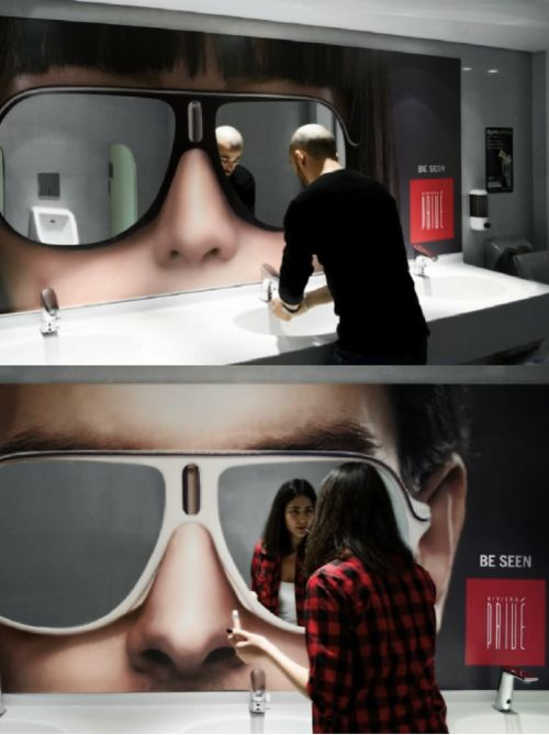 Sunglass: Bathroom Mirrors, Ideas, Sunglasses Mirror, Creative Advertising, Guerilla Marketing, Ambient Advertisement, Ambient Advertising, Ads, Design
