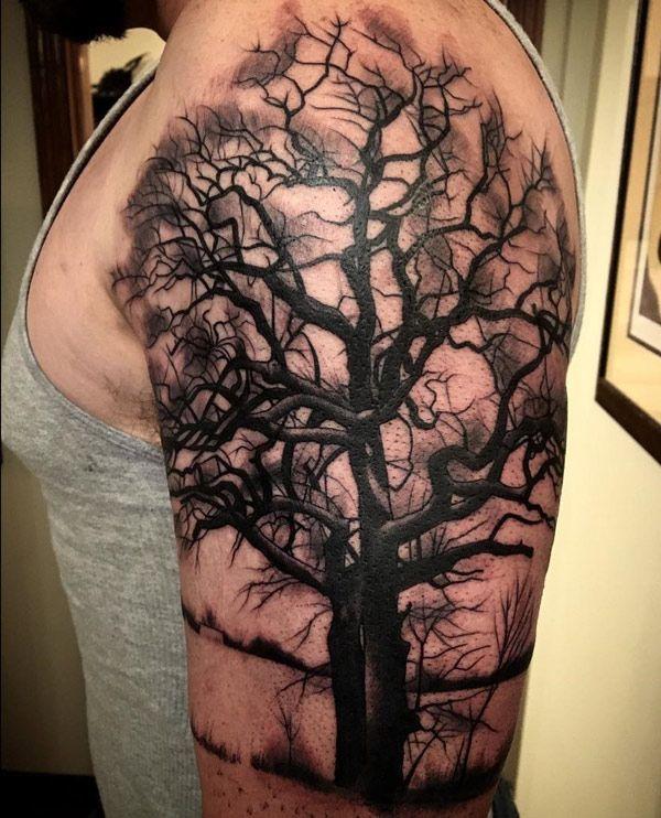 Dark tree by Megan Hoogland.  http://tattooideas247.com/dark-tree/