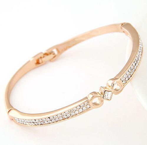 $ 15 смешанный заказ бесплатная доставка летний стиль браслет для женщин симпатичные золотой браслет горный хрусталь элегантный простой браслет