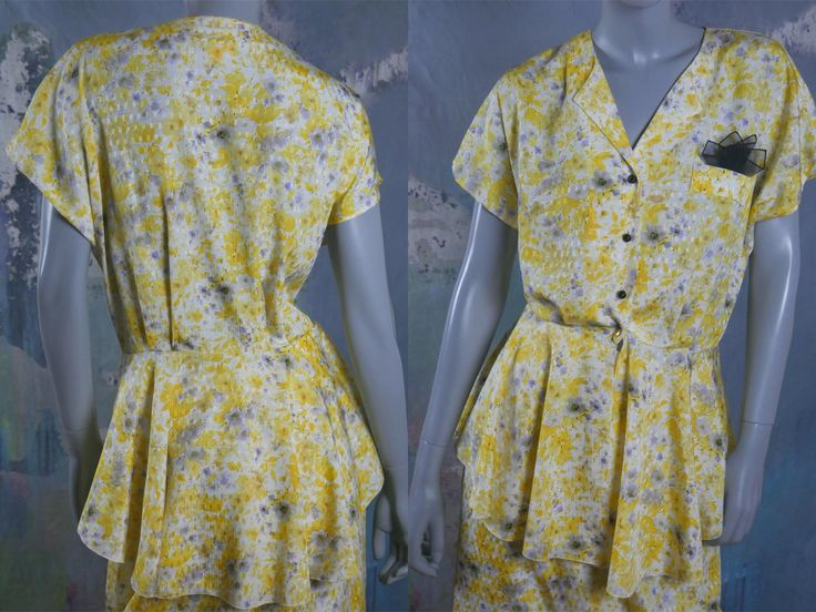 1980s Floral Dress Set, Yellow White Pale Gray Vintage Two-Piece Dress, Made in West Germany: Size 10 (US) 14 (UK) by YouLookAmazing on Etsy
