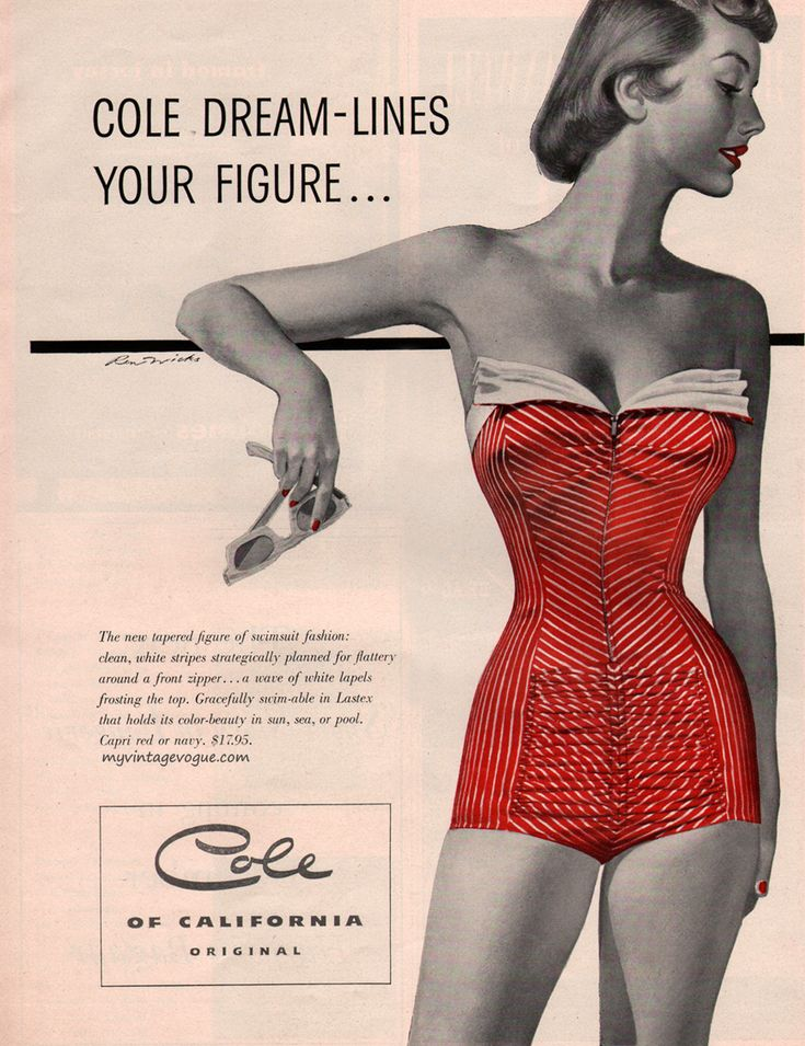 Beautiful!  Cole of California, 1953 vintage swimsuit / bathing suit ad.  #vintagebathingsuit #1950sfashion #fifties