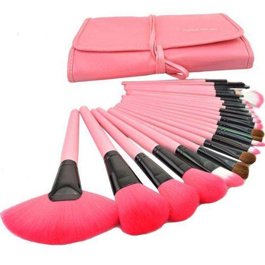 24 pcs Professional Pink Cosmetic Makeup Brush Contour Hightlight Tool Set with Case