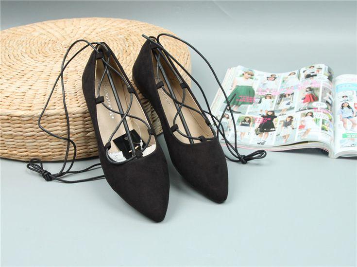 2016 новый корейский указал мелкая рот замша кружева ремни Квартиры плоские с синглов обувь рабочая обувь прилива - Taobao
