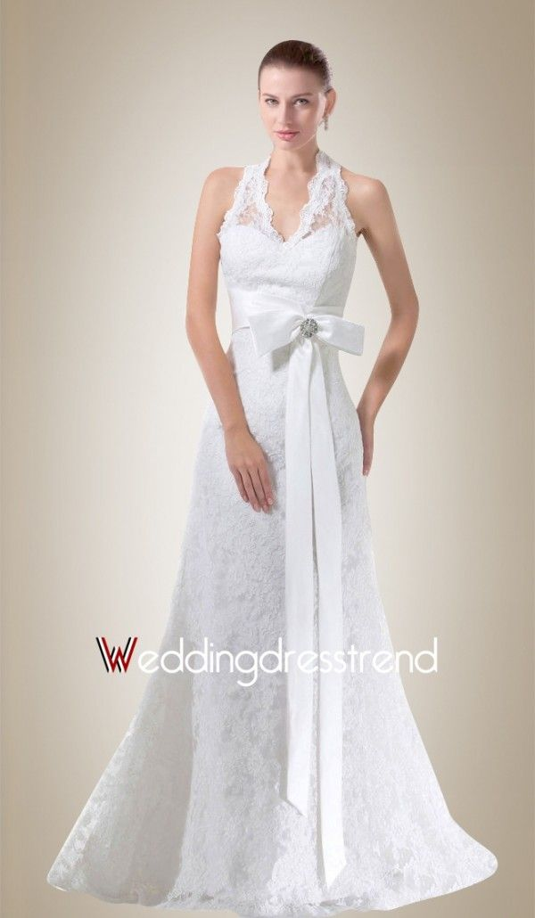 Elegant A-Line Halter Sweep Train Lace Wedding Dress