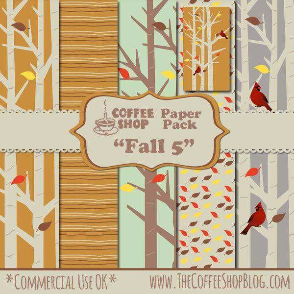 "Free CoffeeShop ""Fall 5"" Digital Paper Pack | The CoffeeShop Blog:"