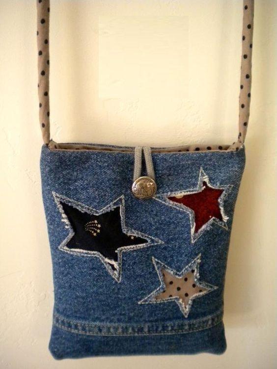 Super adorable up-cycle Denim Bag!.. No pattern.. No instructions.. Posting for inspiration..