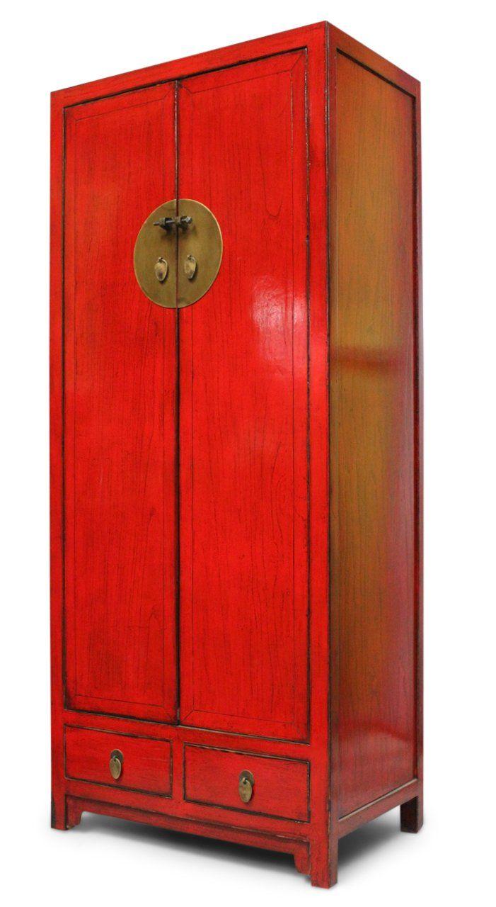 Chinesischer Hochzeitsschrank Aus Ulmenholz In Rot Asia Schrank Hochzeitsschrank Schrank Kleiderschrank