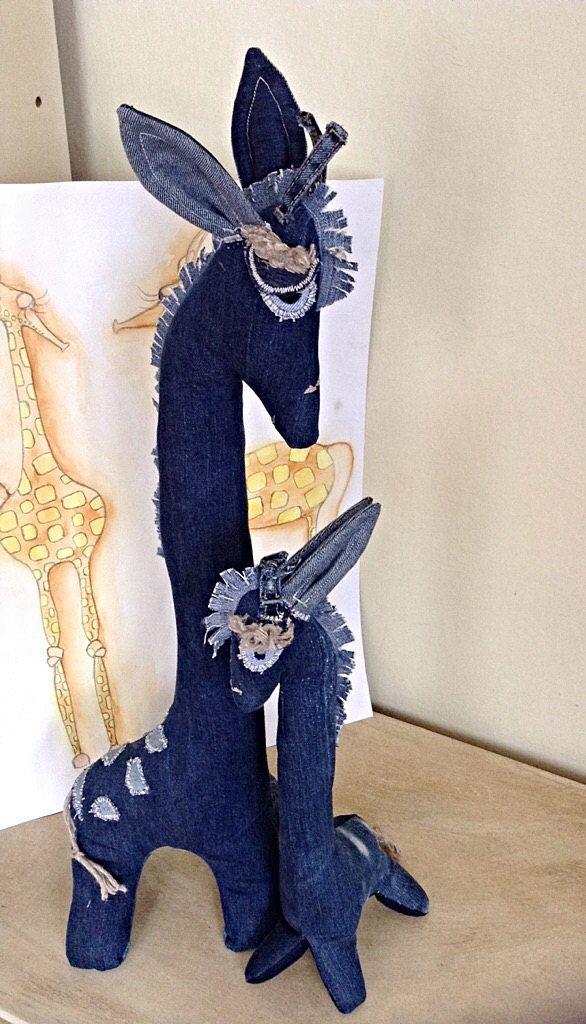 Personalized rag doll giraffe ,soft toy giraffe,giraffe toy,denim rag doll,recycled,upcycled,reused denim jeans rag doll giraffe by denimize on Etsy