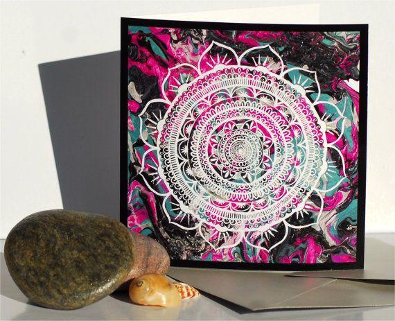 Lucid Liquid Acacia Mandala Card Art Fine art by GoldenAcaciaArt, $5.00