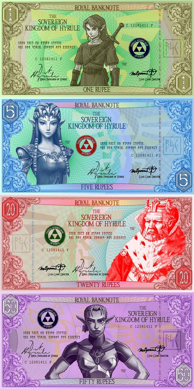 Zelda Hyrulian Rupees Imagined As Paper Banknotes