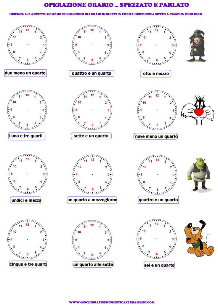 Esercizio per imparare a leggere l'orologio