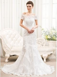 Trumpet/Mermaid Off-the-Shoulder Court Train Tulle Lace Wedding Dress (002054375) - JJsHouse