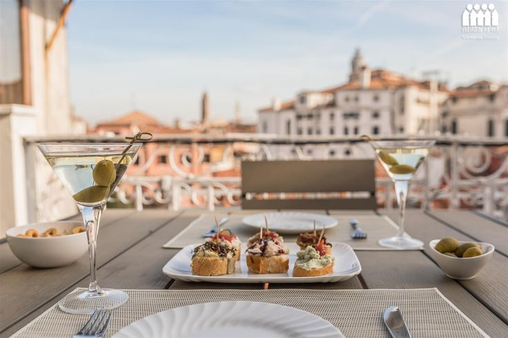 Perfect aperitif on the terrace of Ca' Accademia 2: Venice apartment for rent in Dorsoduro, Italy. ViewsOnVenice