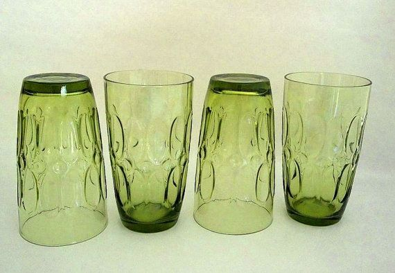 Vintage Fostoria set FOUR green drinking glasses, 1970's, Mesa pattern retro, tumblers, water glasses, iced tea