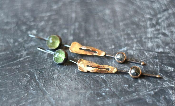Купить SIBERIA серьги (гранаты, алмазы, серебро, золото)RES - разноцветные серьги, яркие серьги