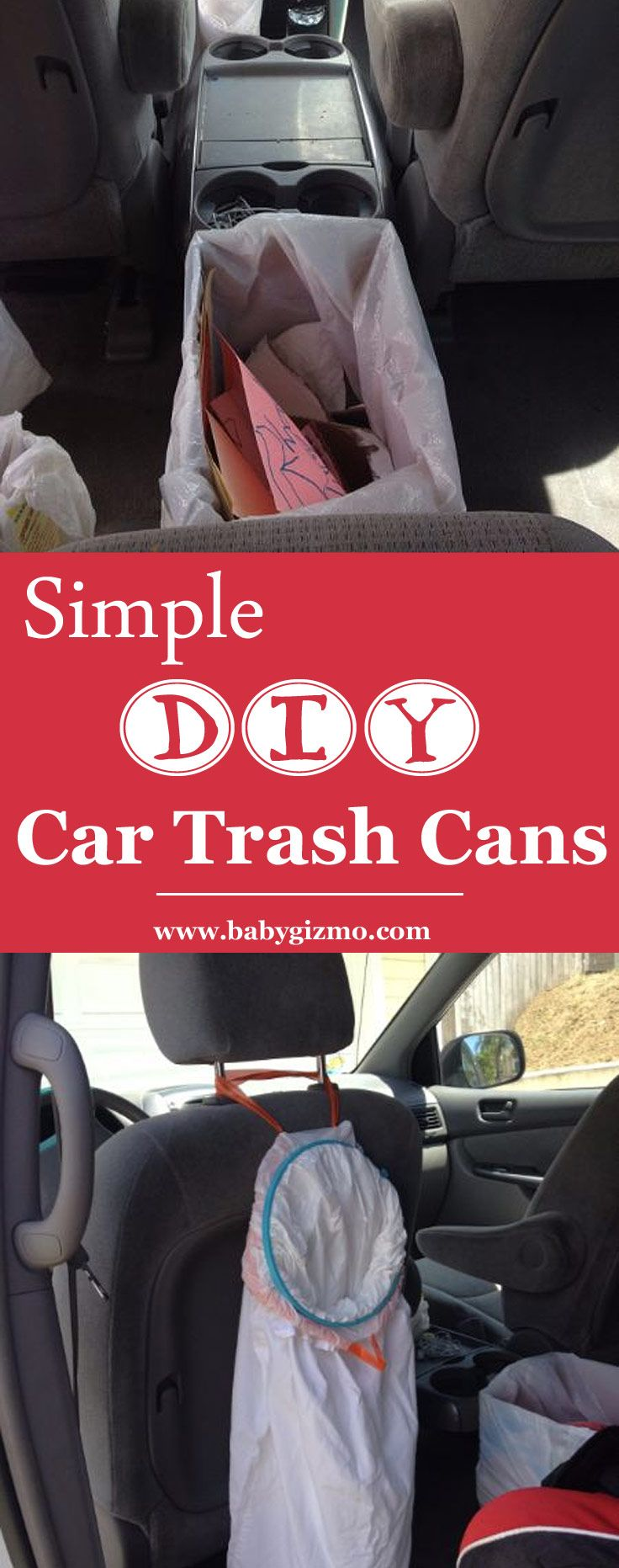 Simple, FREE, DIY Car Trash Can ideas to keep your vehicle clean and clutter-free! #DIY #car #parenting