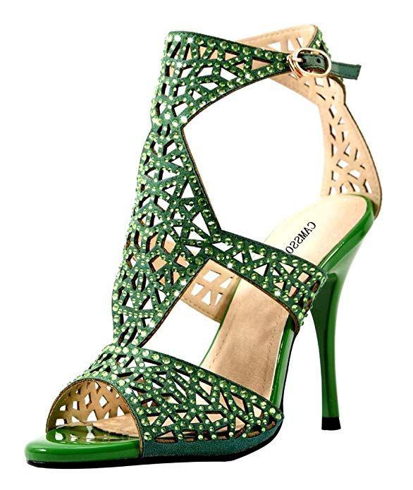 e21609da824 CAMSSOO Women s Ankle Strap Heels Sandals Peep Toe Stiletto Pumps Party Dress  Shoes Green Velveteen Size