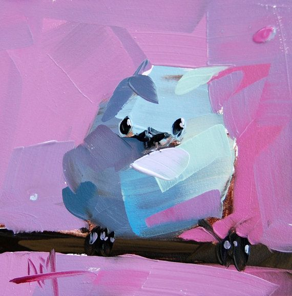 Baby Bird no. 5 original oil painting on pink by Angela Moulton