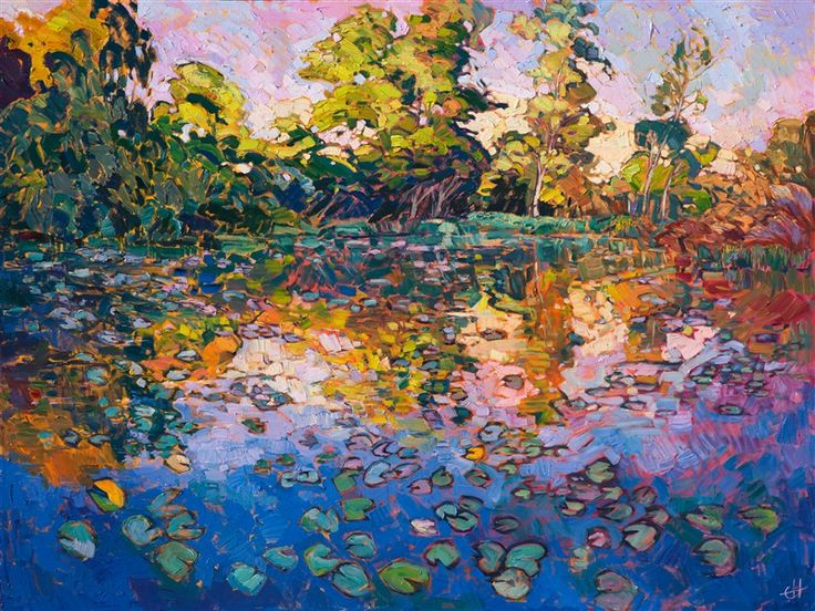 Limited Edition Print - Water Lilies, an impressionist masterpiece by modern painter Erin Hanson