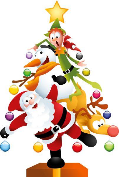 COMICAL SANTA, SNOWMAN, REINDEER AND ELF CHRISTMAS TREE CLIP ART