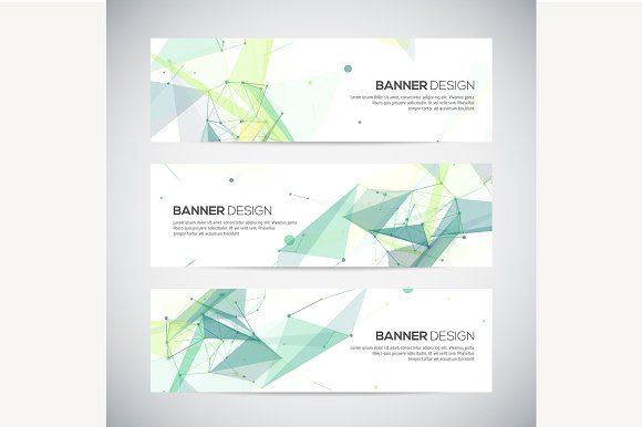 Banners set with polygonal shapes by kanva777 on @creativemarket