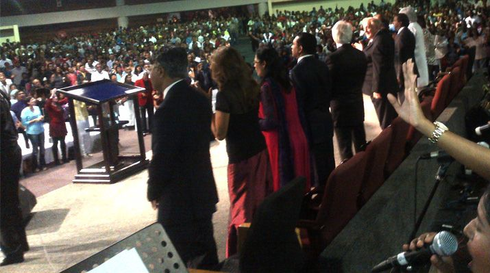 The anointing flowed mightily during meetings throughout South Africa held from February 19-26! This overflow crowd fills Durban's Faith Revival Church with praise and worship.